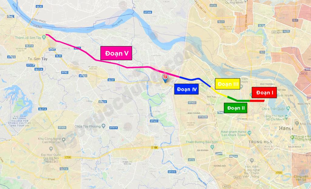 Chi tiết 5 đoạn của trục đường Tây Thăng Long