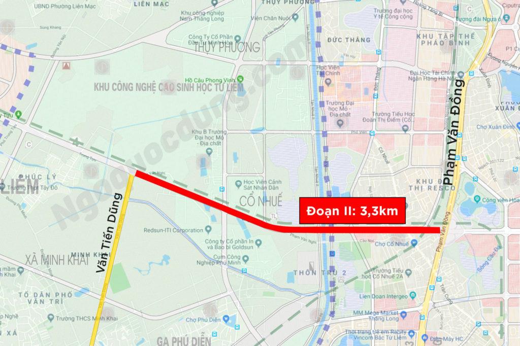 Đoạn II đường Tây Thăng Long từ Phạm Văn Đồng tới Văn Tiến Dũng