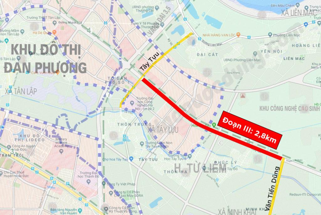 Đoạn III đường Tây Thăng Long từ Văn Tiến Dũng đến Tây Tựu