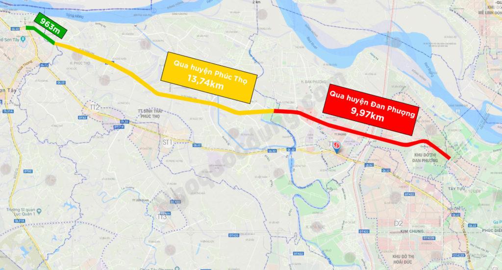 Đường Tây Thăng Long đi qua huyện Đan Phượng và Phúc Thọ