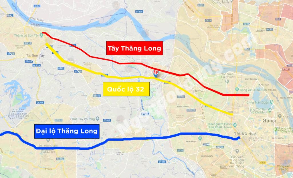 3 trục đường Tây Thăng Long, quốc lộ 32 và đại lộ Thăng Long