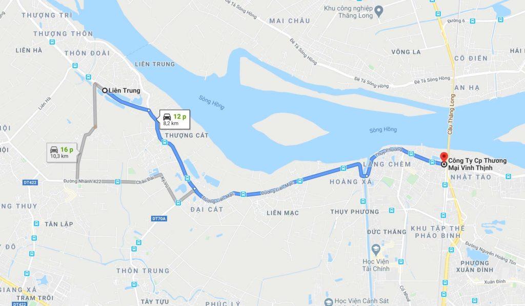 Đường đi đến Vinhomes Wonder Park Đan Phượng